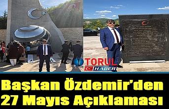 Başkan Özdemir'den 27 Mayıs Açıklaması