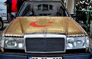 Mercedes marka otomobilini 1 kuruş madeni para ile...