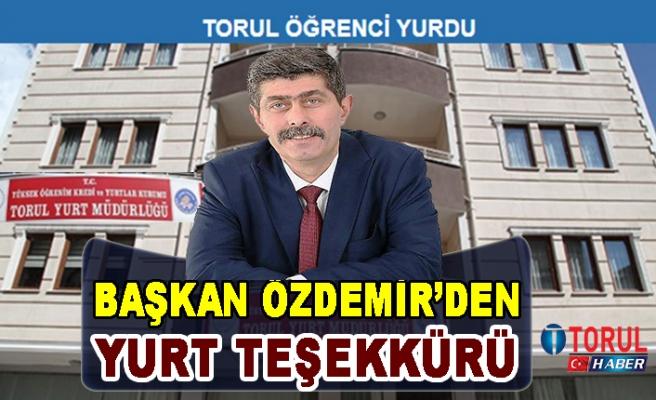 Başkan Özdemir'den Yurt Teşekkürü