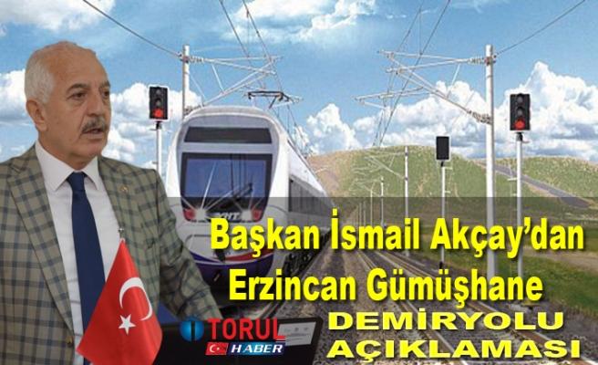 Başkan İsmail Akçay'dan  Erzincan Gümüşhane Demiryolu Açıklaması